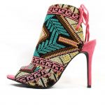 Shoe Republic Calista embroidered Stiletto Open Toe High Pink Booties-0