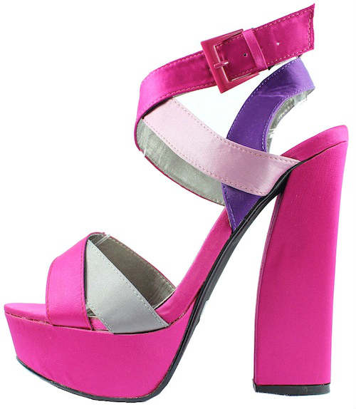 Qupid Honor-11 Fuchsia Criss Cross Platform chunky heels open toe sandals-0