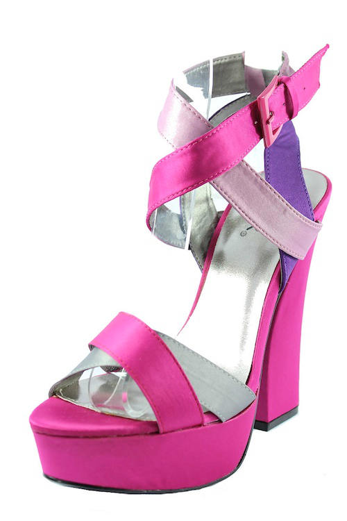 Qupid Honor-11 Fuchsia Criss Cross Platform chunky heels open toe sandals-2169
