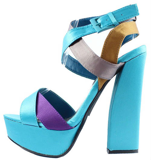 Qupid Honor-11 Teal Criss Cross Platform chunky heels open toe sandals-0