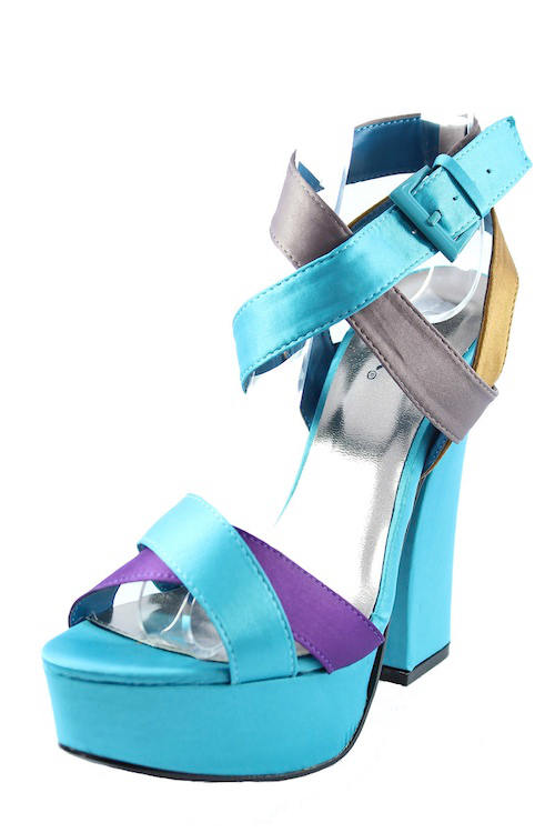 Qupid Honor-11 Teal Criss Cross Platform chunky heels open toe sandals-2165