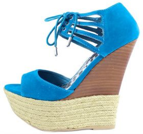 Dollhouse Hotstuff Blue Lace up Platform Wedge Open Toe Sandals-0