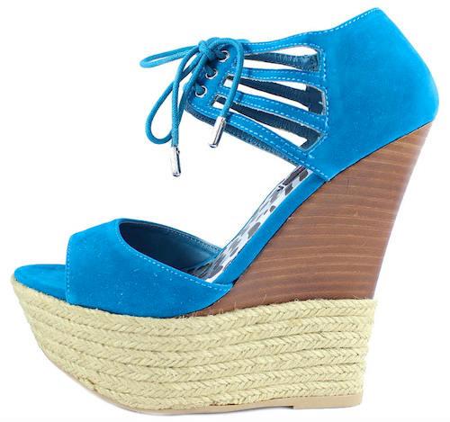 Dollhouse Hotstuff Blue Lace up Platform Wedge Open Toe Sandals-0
