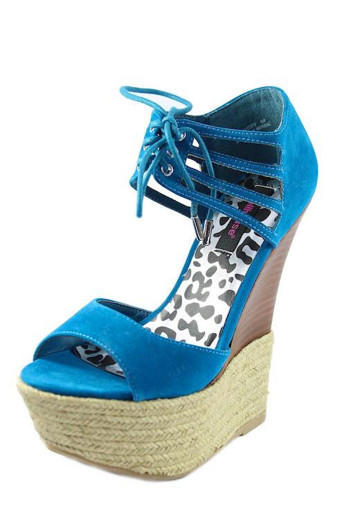 Dollhouse Hotstuff Blue Lace up Platform Wedge Open Toe Sandals-2130