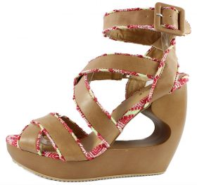 Qupid Lisbeth 01 Tan Criss Cross Wedge Platform Open toe Sandals-0