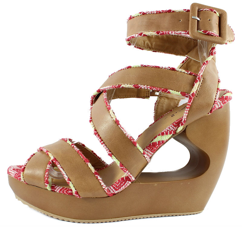 95fe9aa11ee Qupid Lisbeth 01 Tan Criss Cross Wedge Platform Open toe Sandals-0