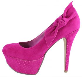 Alora-03 Fuchsia Almond toe side bow platform high heel pumps-0