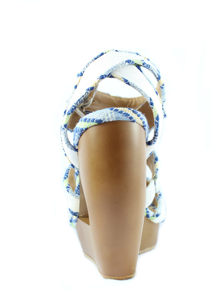 0dcf08d5df8 Qupid Lisbeth 01 White Criss Cross Wedge Platform Open toe Sandals-676