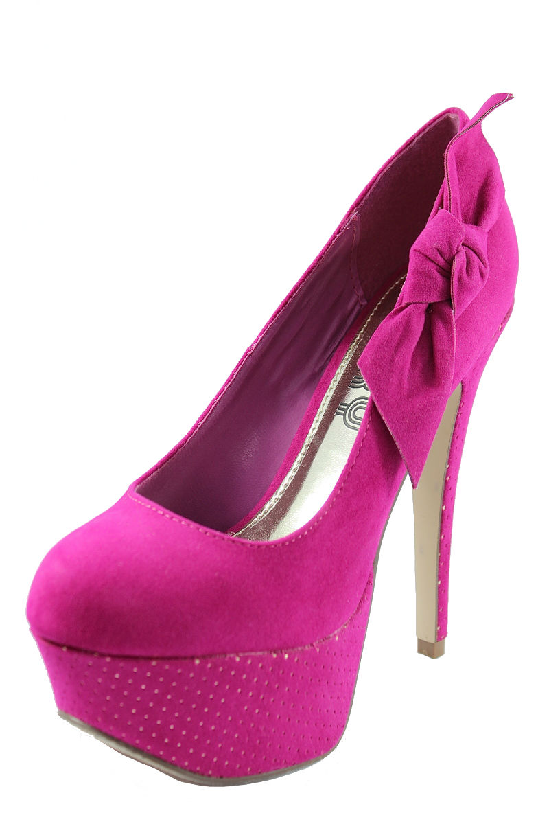 Alora-03 Fuchsia Almond toe side bow platform high heel pumps-500