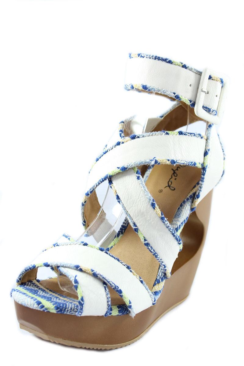 Qupid Lisbeth 01 White Criss Cross Wedge Platform Open toe Sandals-674
