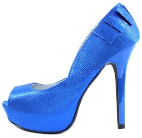 Qupid Glitter-13 Blue Satin Platform Open Toe High Heels Pumps-0