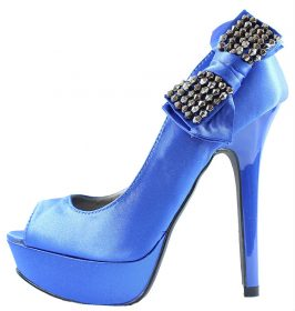 Qupid Glitter-61 Blue Platform Satin Open Toe Side Bow High Heels Pumps-0