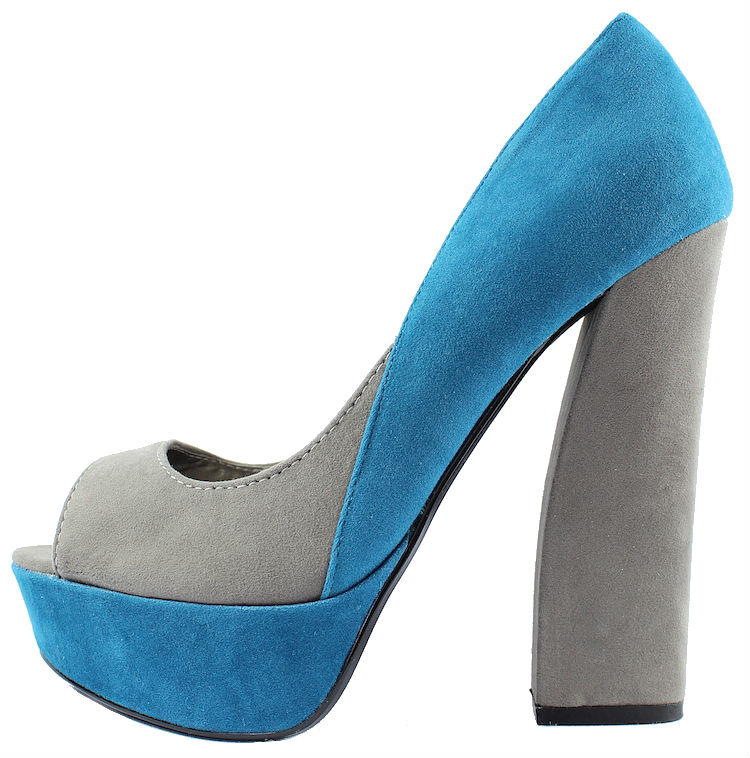 Qupid Honor-30 Teal Velvet Platform chunky heels open toe Pumps-0