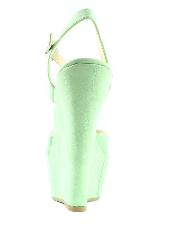 Bonnibel Davio 02 Green T-strap Criss Cross Open toe Platform Wedge Sandals -658