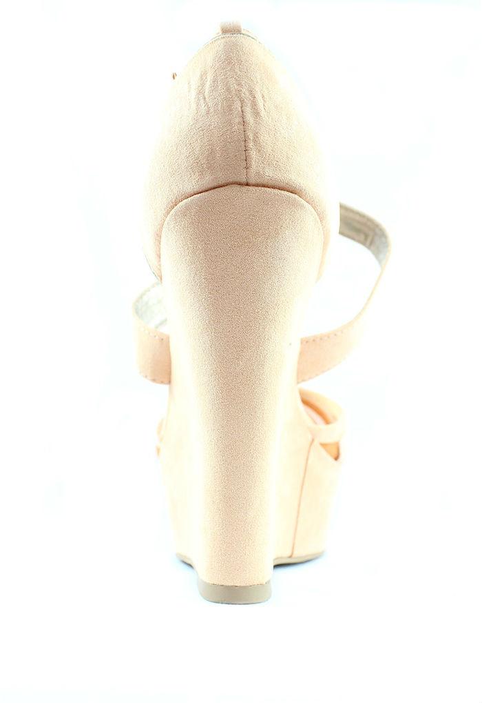 Qupid Finder 169 Apricot Mesh Open Toe Wedge Platform Heels Shoes -736