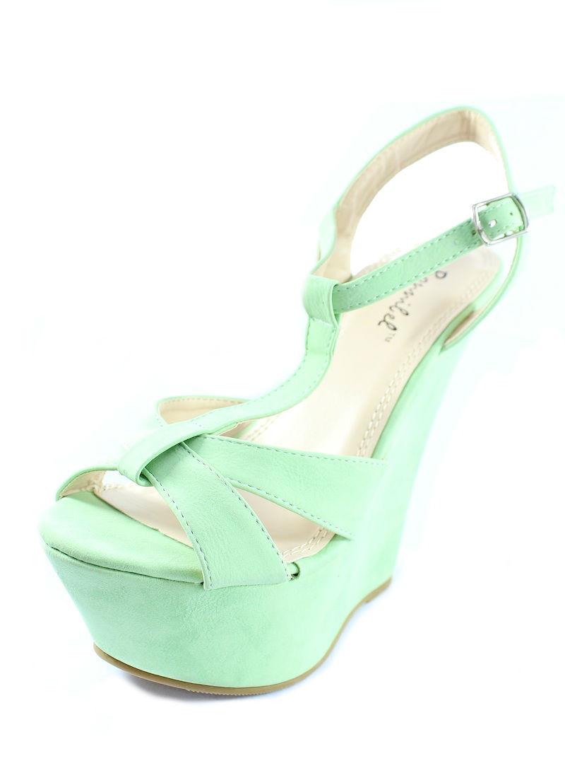 Bonnibel Davio 02 Green T-strap Criss Cross Open toe Platform Wedge Sandals -660