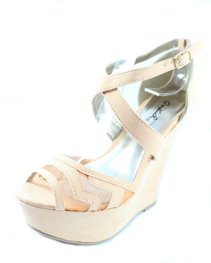 Qupid Finder 169 Apricot Mesh Open Toe Wedge Platform Heels Shoes -735