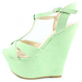 Bonnibel Davio 02 Green T-strap Criss Cross Open toe Platform Wedge Sandals -0