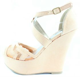 Qupid Finder 169 Apricot Mesh Open Toe Wedge Platform Heels Shoes -0