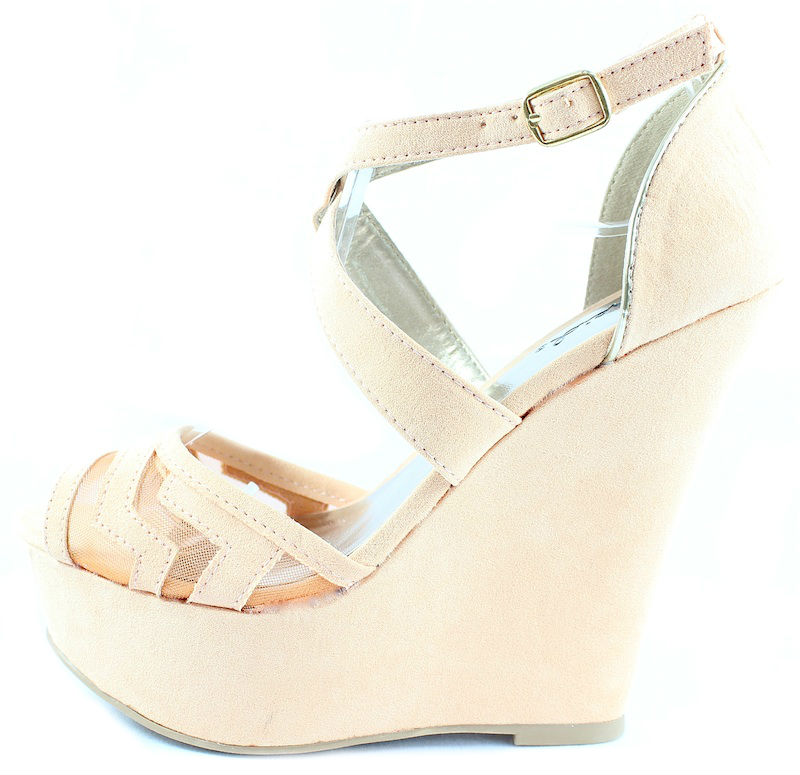 a77875d2524 Qupid Finder 169 Apricot Mesh Open Toe Wedge Platform Heels Shoes -0