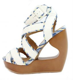 Qupid Lisbeth 01 White Criss Cross Wedge Platform Open toe Sandals-0