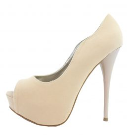 Qupid Neutral-35 Nude Velvet Platform High heels open toe Pumps-0