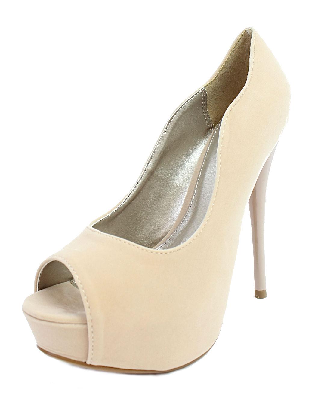 Qupid Neutral-35 Nude Velvet Platform High heels open toe Pumps-706