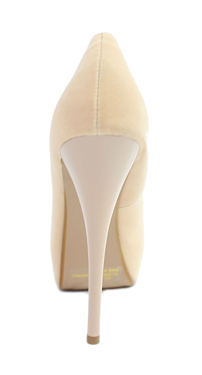 Qupid Neutral-35 Nude Velvet Platform High heels open toe Pumps-707