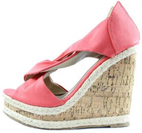Miranda-01 Melon Peep Toe criss cross Platform wedge sandals-0