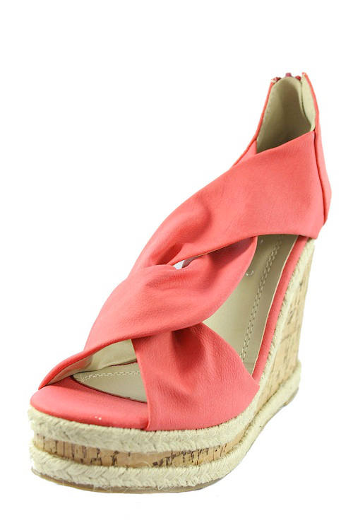 Miranda Melon Peep Wowtrendz Toe Wedge Sandals