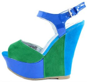 Bamboo Smooch-18 Color blcok Open toe Wedge Platform Sandals-0