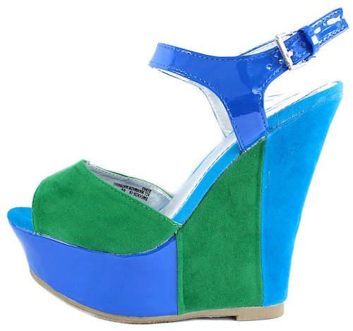 Bamboo Smooch-18 Color blcok Open toe Wedge Platform Sandals-0