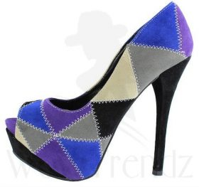 Alba Stitch black patched Multi colored platform peep toe Pumps-0