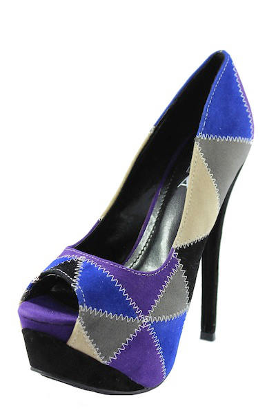 Alba Stitch black patched Multi colored platform peep toe Pumps-2161