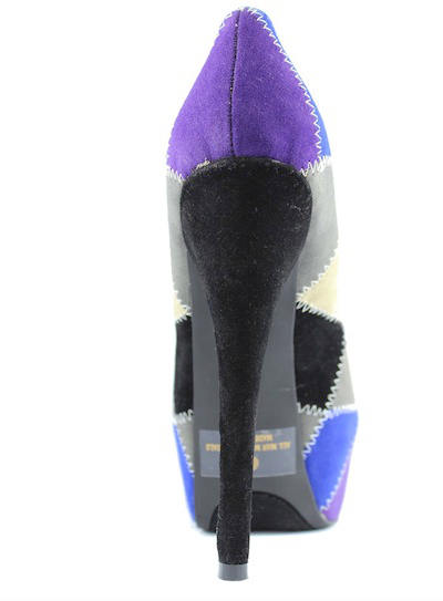 Alba Stitch black patched Multi colored platform peep toe Pumps-2159