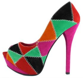 Alba Stitch patched Fuchsia Multi colored platform peep toe Pumps-0
