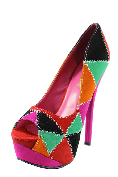 Alba Stitch patched Fuchsia Multi colored platform peep toe Pumps-2158