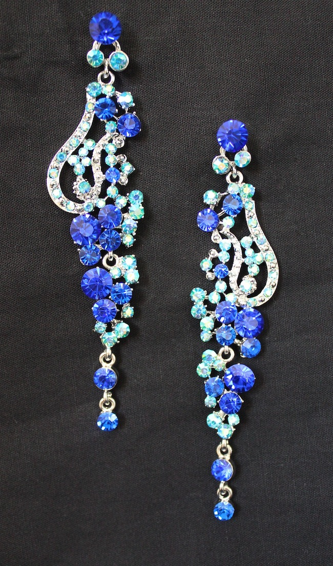 2 tone Blue jewel Crystal Earrings-0