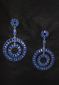Royal Blue jeweled crystals earrings-0