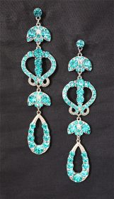 Turquoise Dangle Crystal Earrings-0