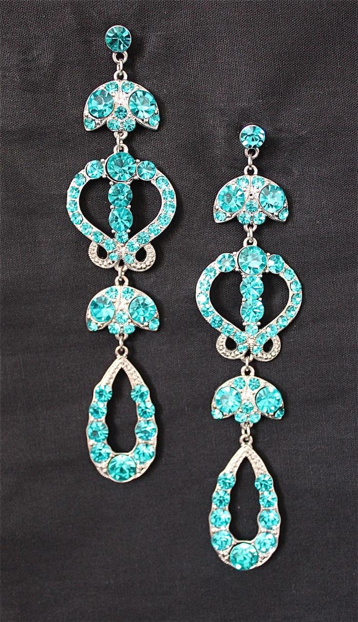 Turquoise Dangle Crystal Earrings-0