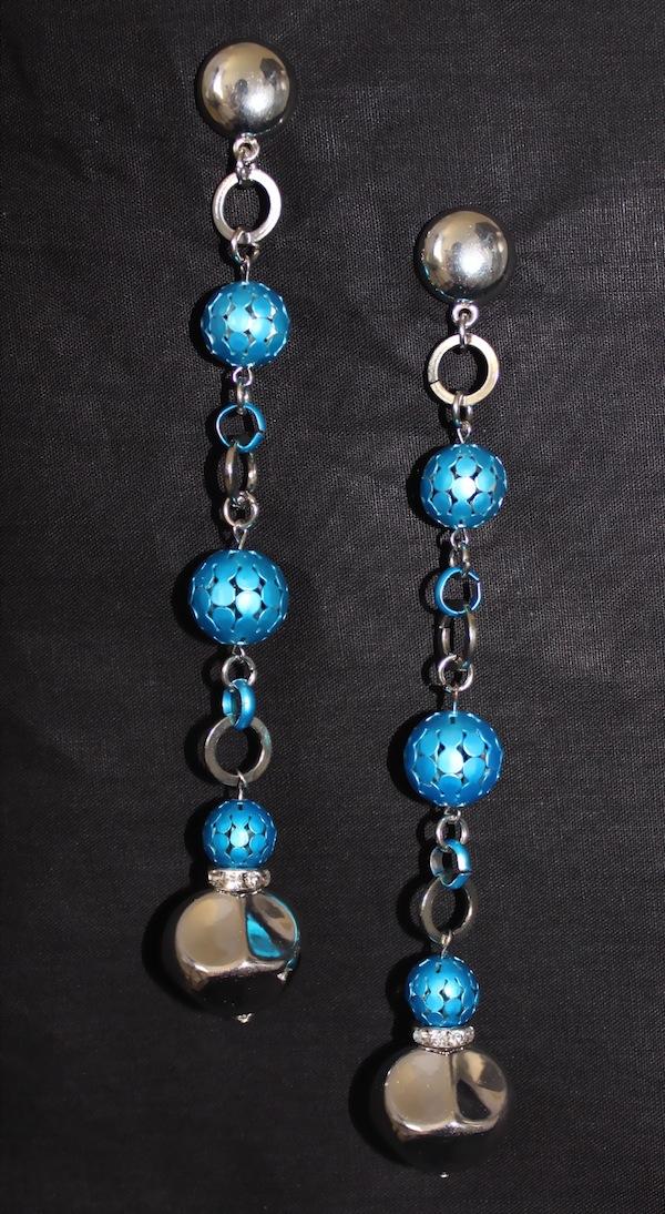 Blue Swinging Earrings-0