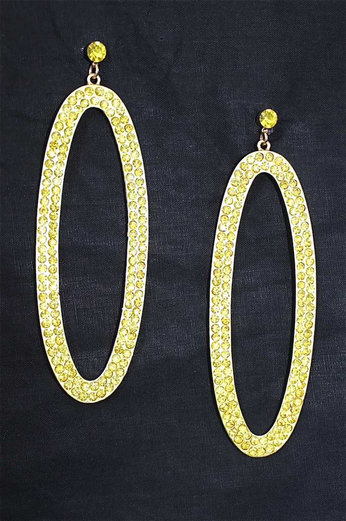 Yellow Oval Jeweled crystal earrings-1590