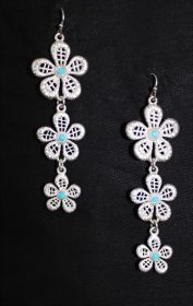 Silver Floral Earrings -0