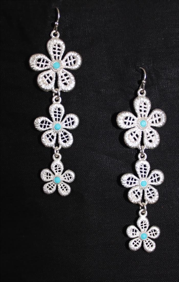 Silver Floral Earrings -0