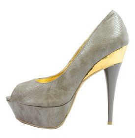 Liliana Tile-1 Gray Snake Platform Open Toe Pumps-0