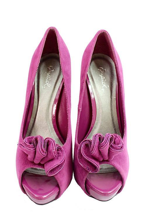 Qupid Nydia-13 Berry Platform High heels open toe Pumps-1928