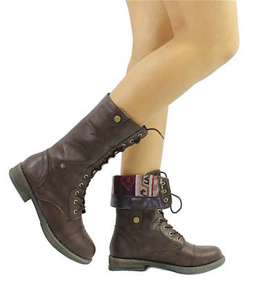 Qupid Seattle-01X Brown Tribal Cuff Military Lace up Boots-0