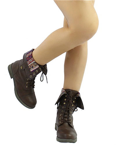 Qupid Seattle-01X Brown Tribal Cuff Military Lace up Boots-2036