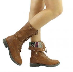 Qupid Seattle-01X Cognac Tribal Cuff Military Lace up Boots-0